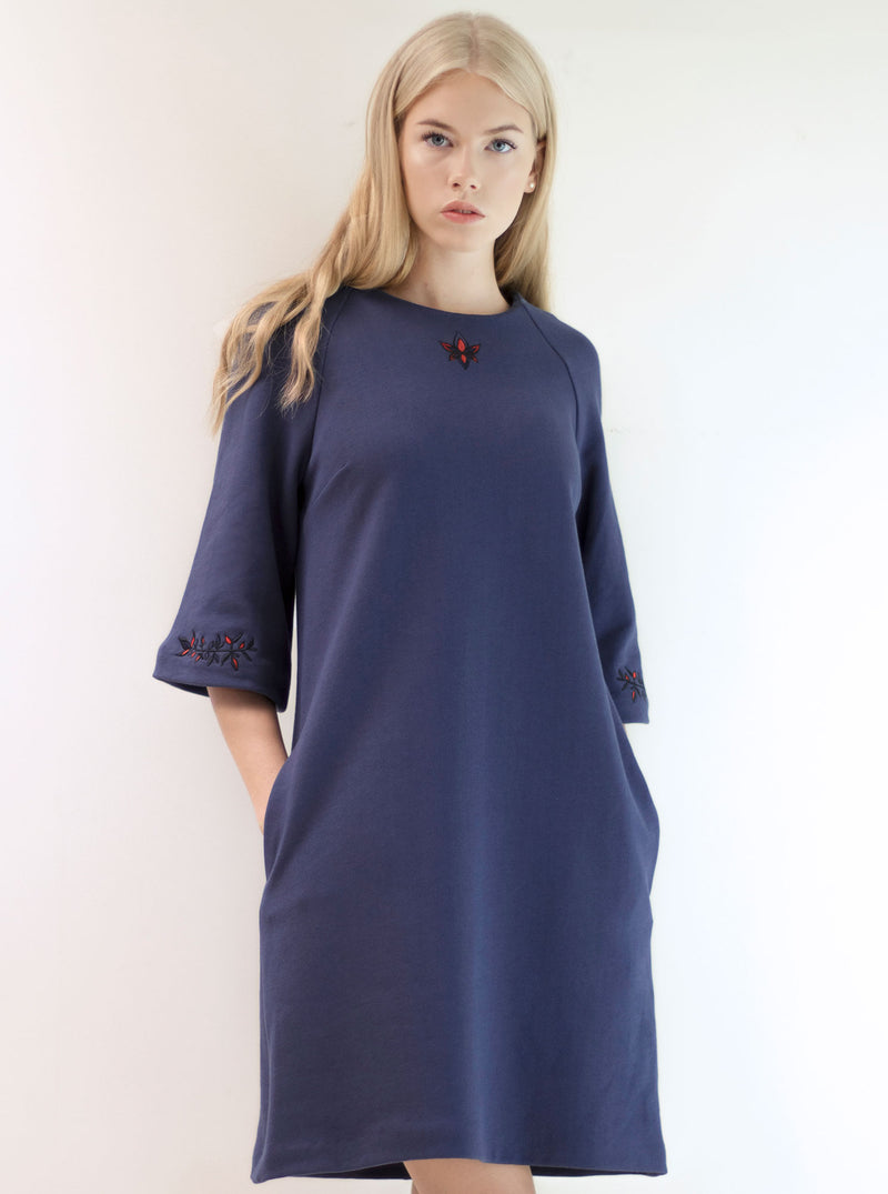 Navy Blue Organic Cotton Embroidered Dress ELIISE