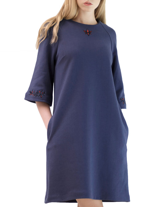 ELIISE Navy Blue Organic Cotton Embroidered Dress