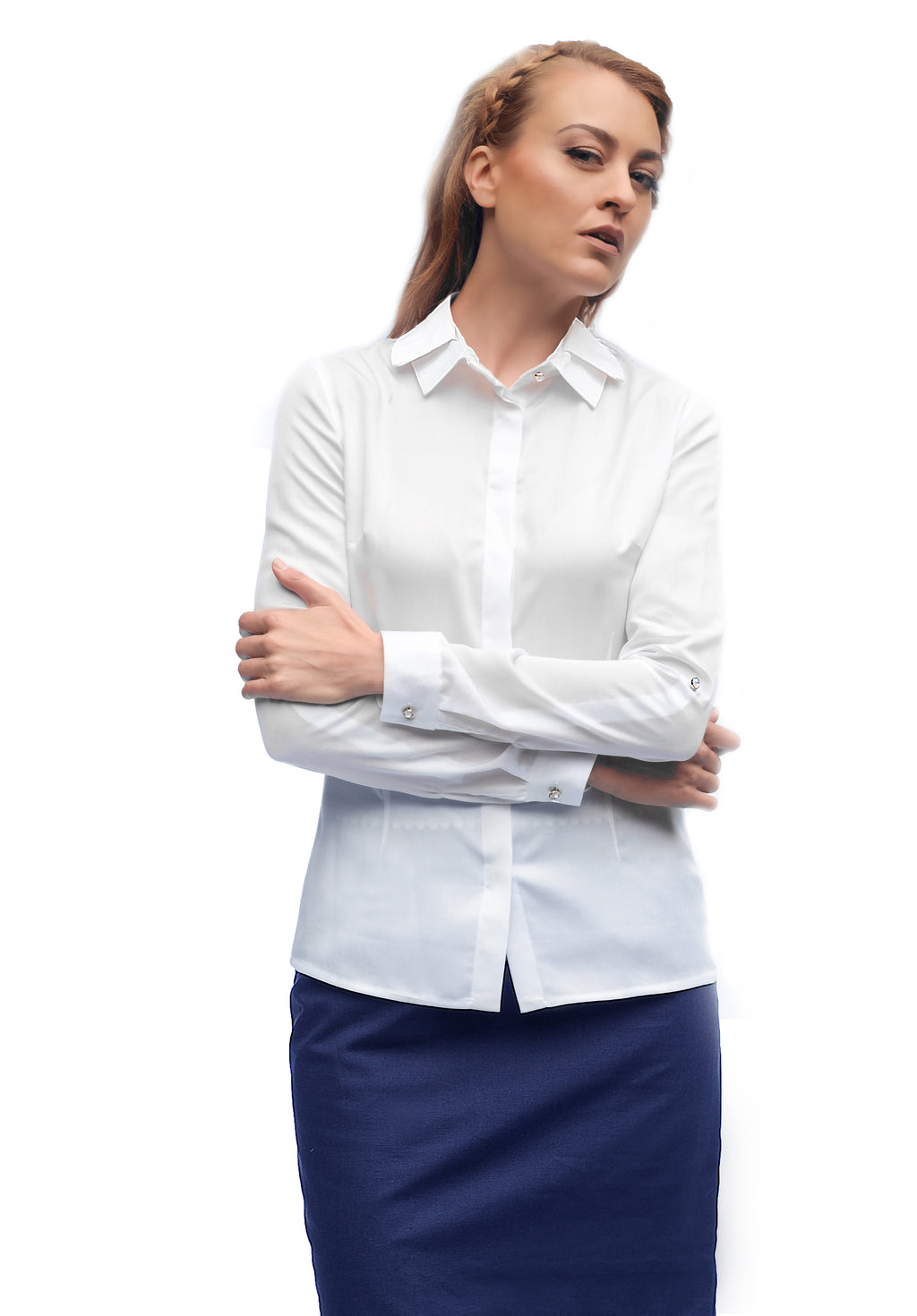 ODER White Bamboo Shirt with Adjustable Sleeves