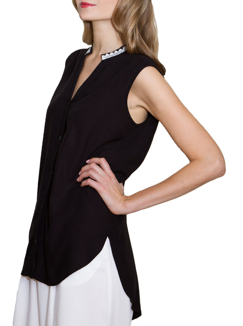 KAER Black Bamboo Sleeveless Blouse