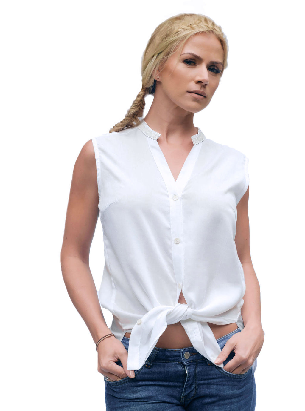 KAER White Bamboo Sleeveless Blouse