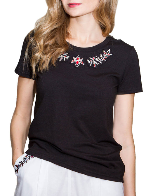 PRIGITTE Black Bamboo Embroidered T-shirt