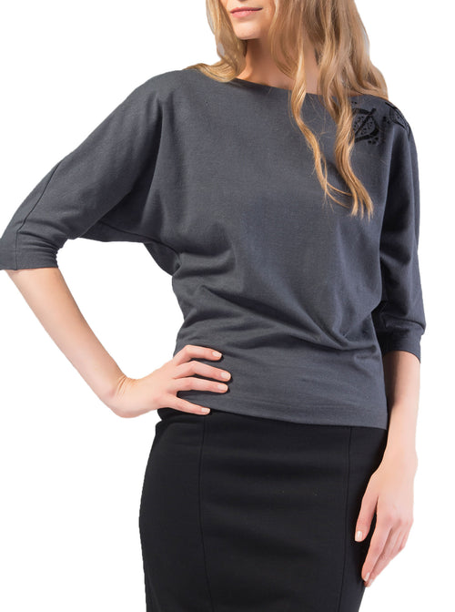 TAEVI Embroidered Grey Top