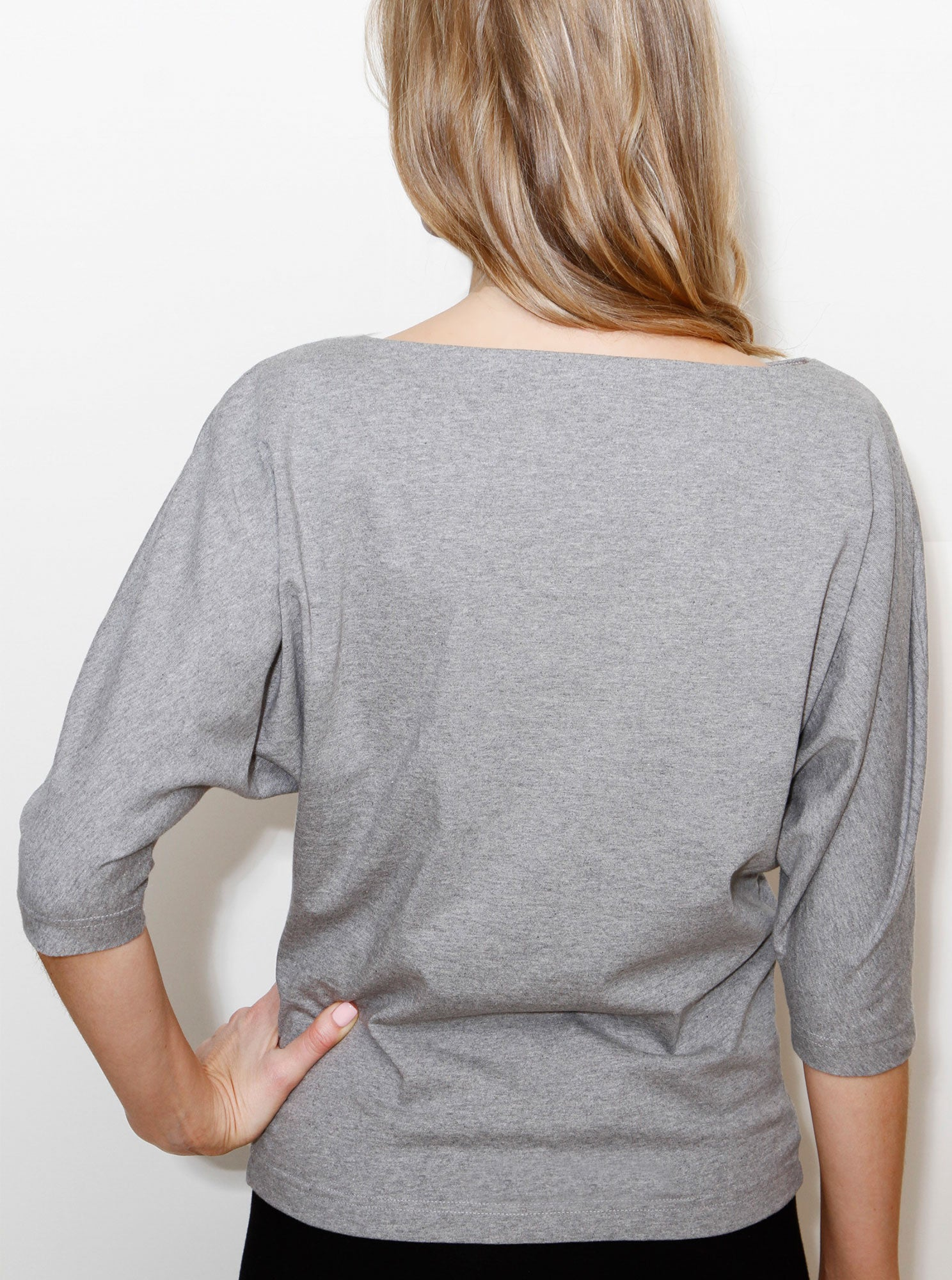 TAEVI Grey Marl Organic Cotton Blouse
