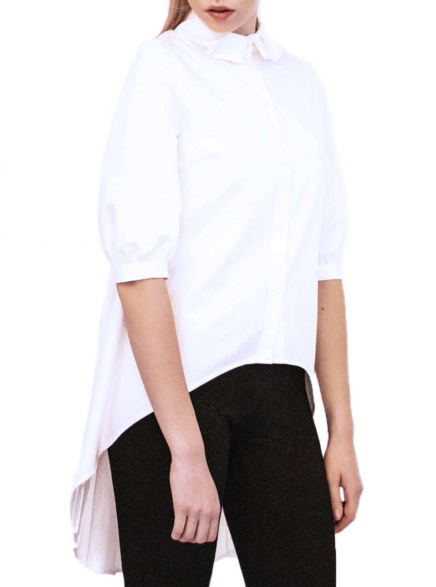 White Organic Cotton Pleated Shirt ANNE