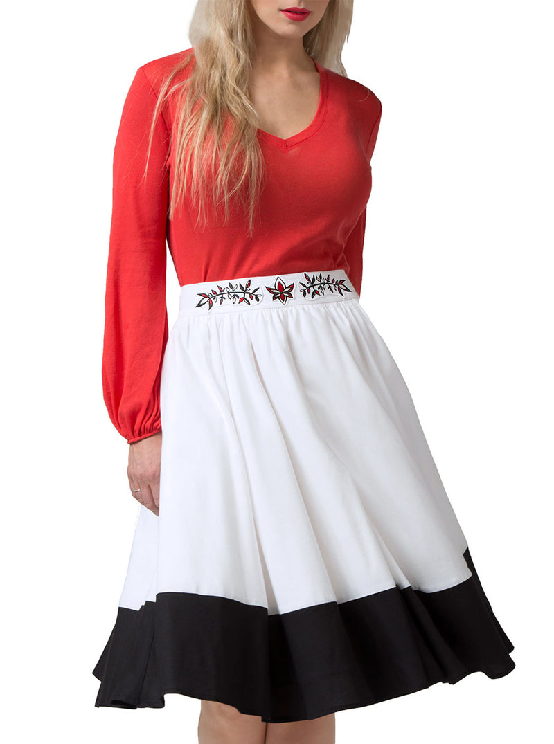 Multi-Color Bamboo Embroidered Skirt SIMONE