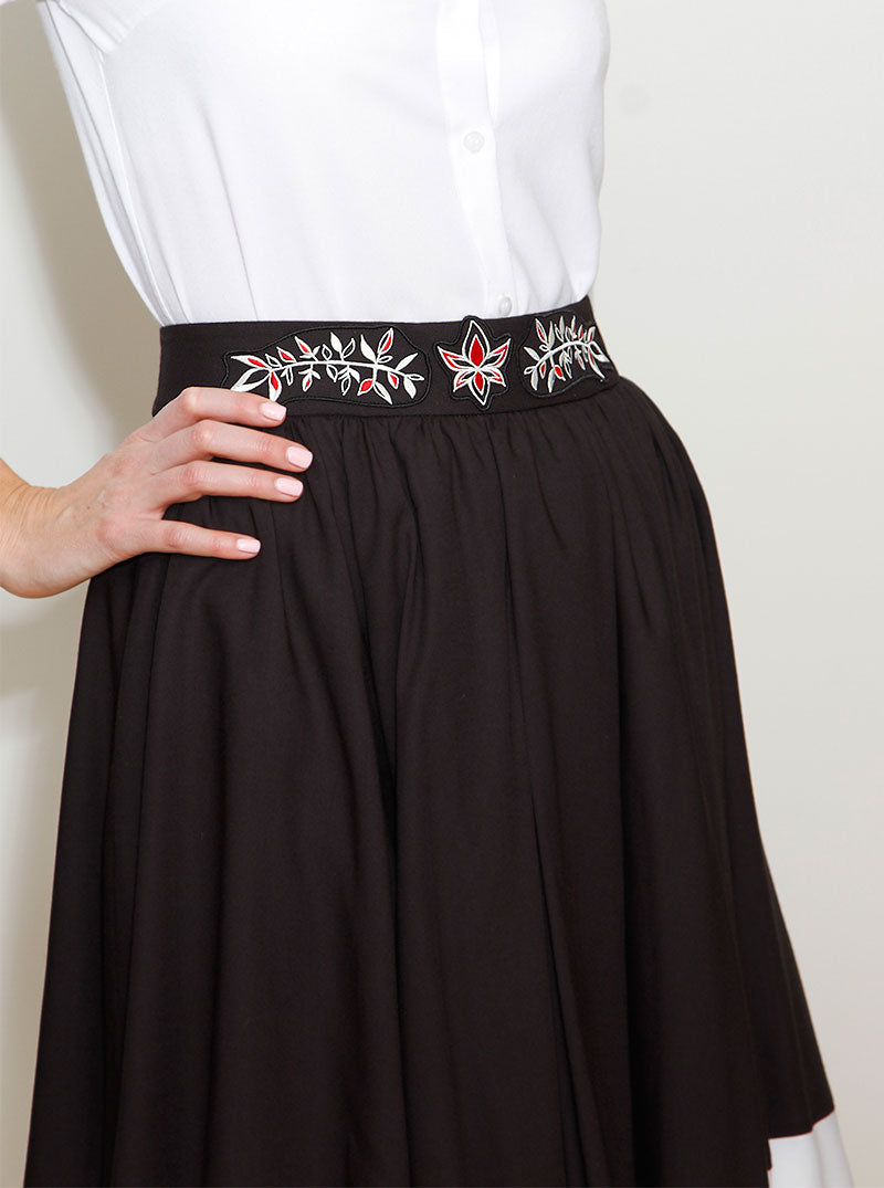 Multi-Color Bamboo Embroidered Skirt SIMONA