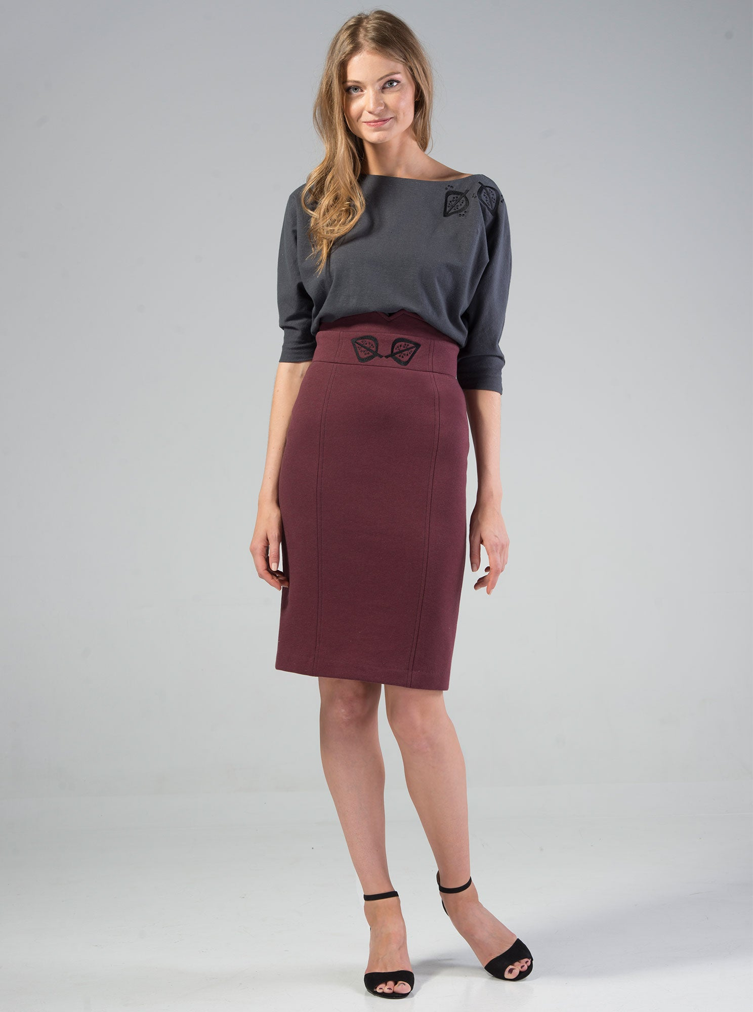 VAIKE Bordeaux Red Organic Cotton Embroidered Skirt