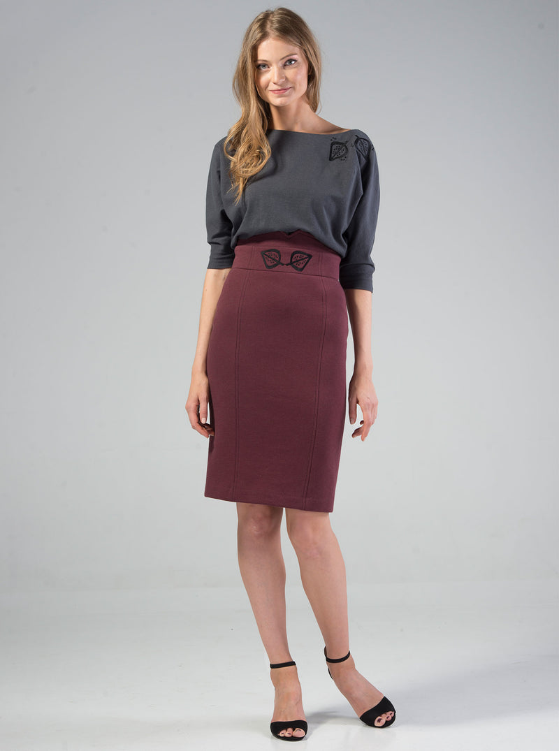 Bordeaux Red Organic Cotton Embroidered Skirt VAIKE