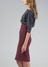 Bordeaux Red Organic Cotton Pencil Skirt VAIKE