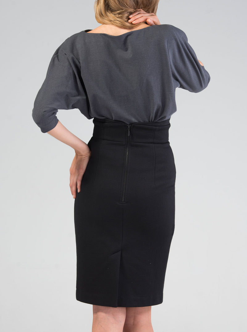 Black Organic Cotton Pencil Skirt VAIKE