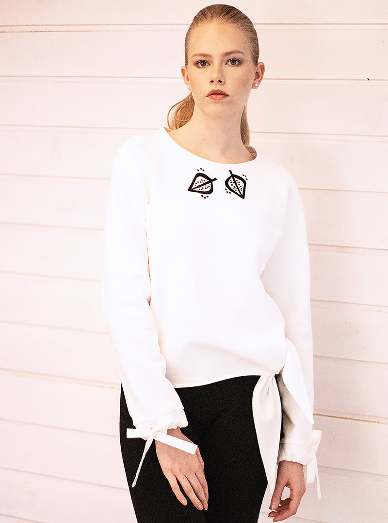 White Organic Cotton Tie-Hem Sweatshirt BLOOM