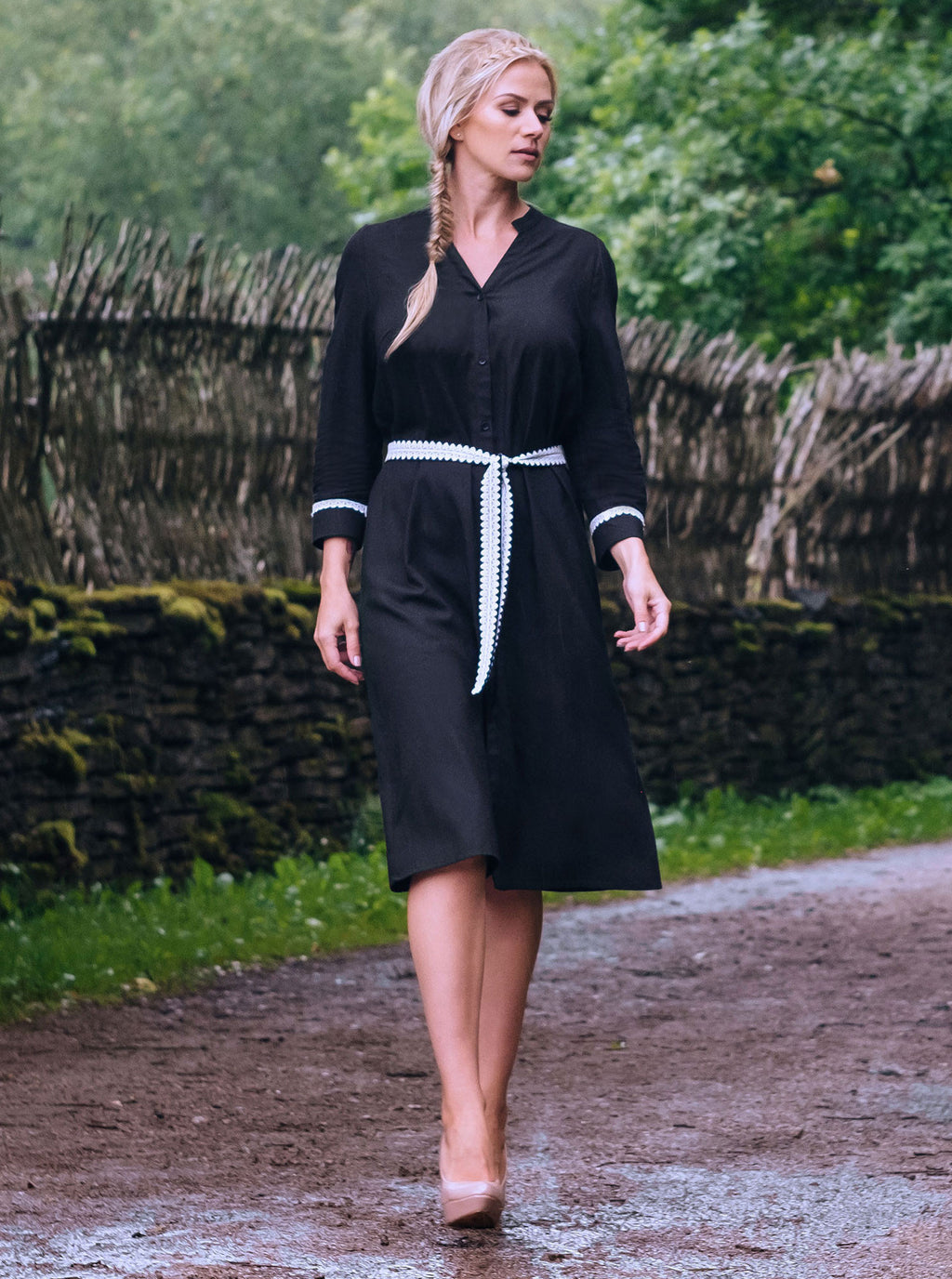 SORGO Black Bamboo Shirt Dress
