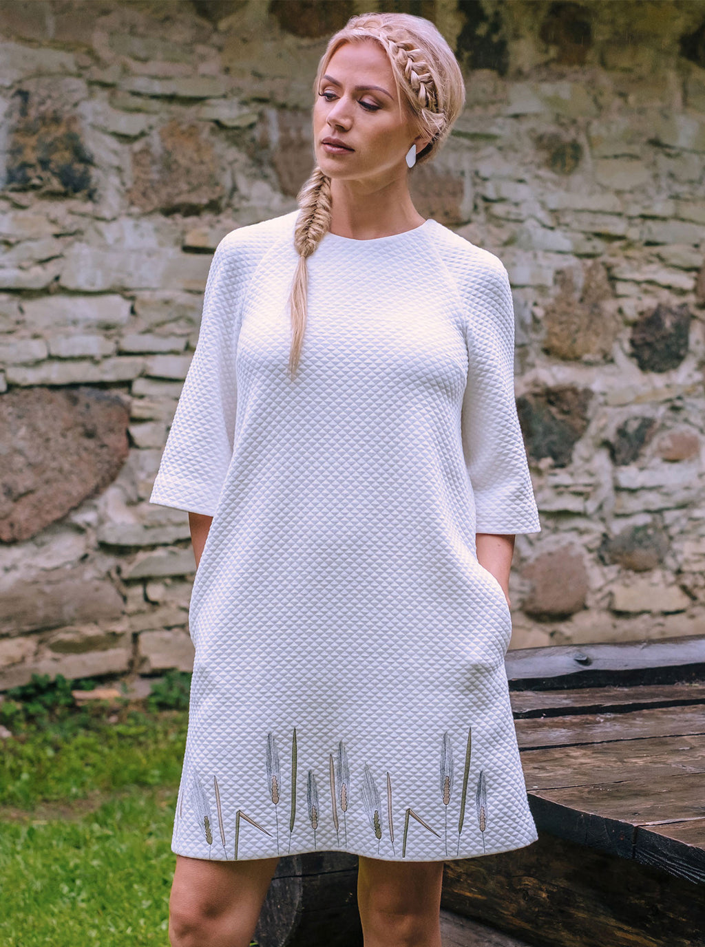 White Organic Cotton Embroidered Dress RIIS
