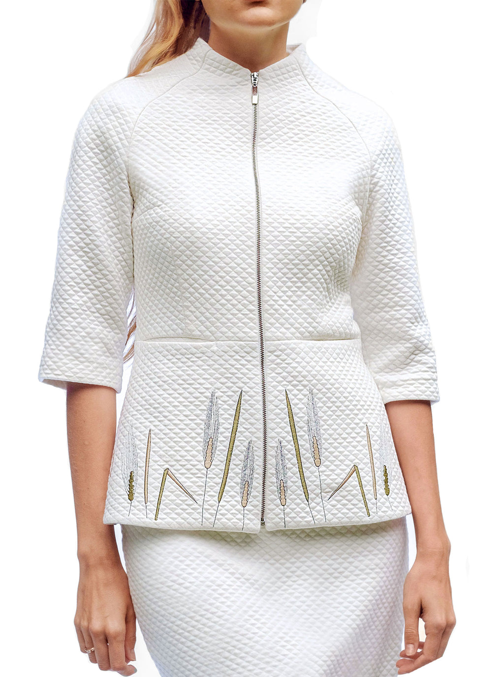 TRITIKALE White Organic Cotton Embroidered Jacket