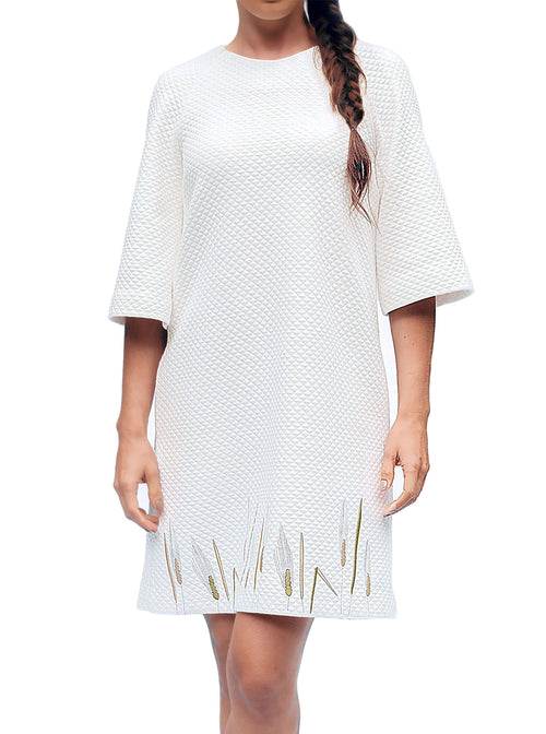 RIIS Organic Cotton Embroidered White Dress