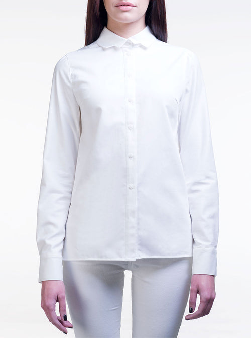 LIISA White Organic Cotton Straight Shirt