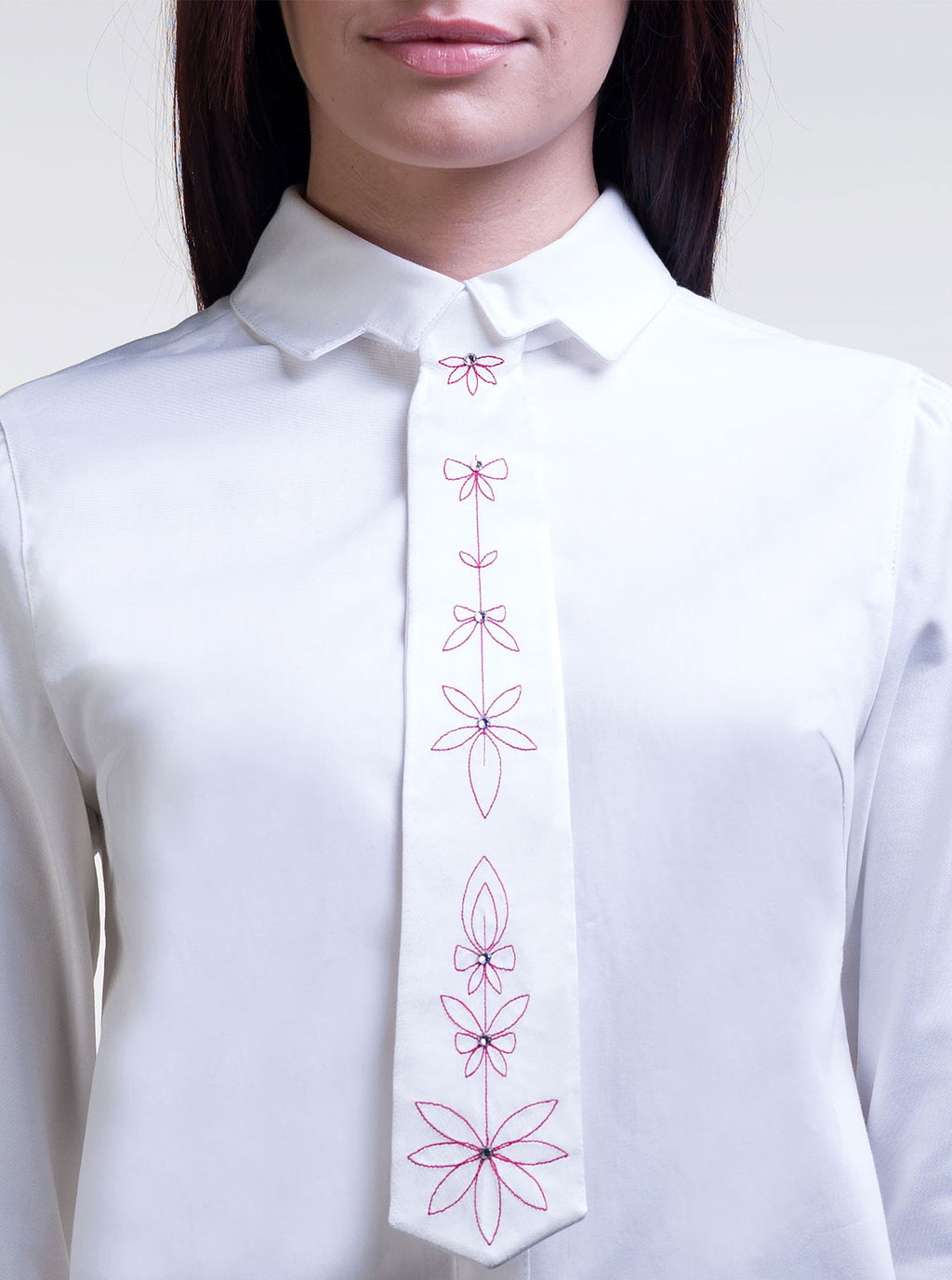 White Organic Silk Embroidered Tie EMMA