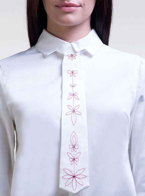 EMMA White Organic Silk Embroidered Tie