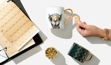 Load image into Gallery viewer, Pantone Metallic Gold lifestyle image open binder with chips and cups