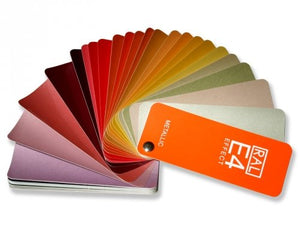 RAL Effect E4 Metallic colour chart product image (RALE4) fanned horizontally