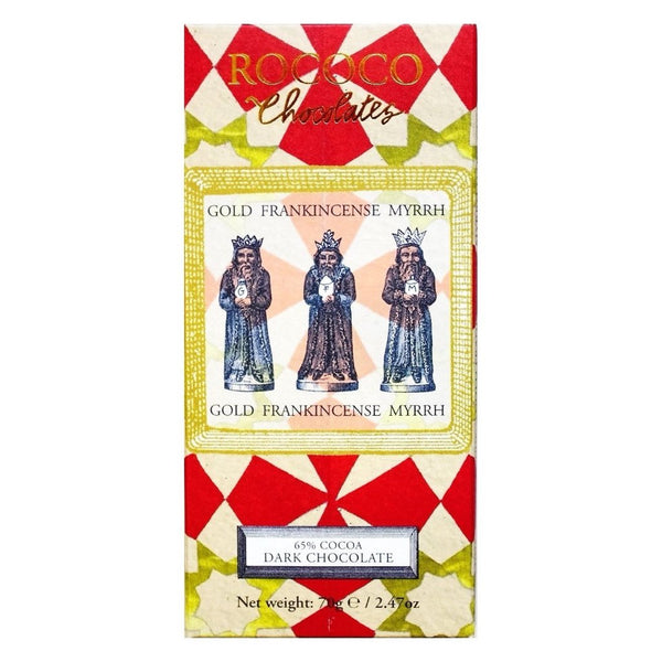 Gold, Frankincense & Myrrh Dark Chocolate Christmas Artisan Bar