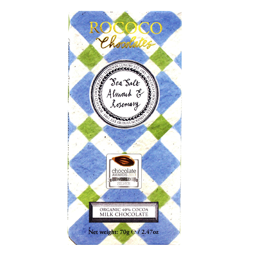 Sea Salt, Almond & Rosemary Organic Milk Chocolate Artisan Bar