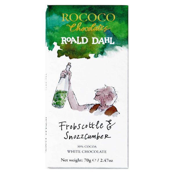 Rococo & Roald Dahl: Frobscottle & Snozzcumber White Chocolate Bar