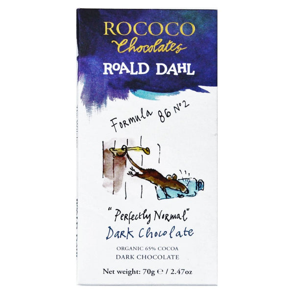 "Rococo & Roald Dahl: ""Perfectly Normal"" 65% Cocoa Organic Dark Chocolate Bar"