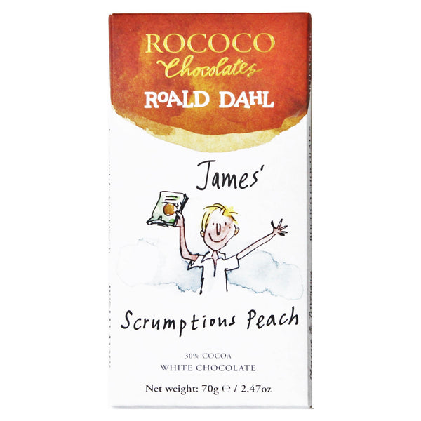 Rococo & Roald Dahl: James' Scrumptious Peach White Chocolate Bar
