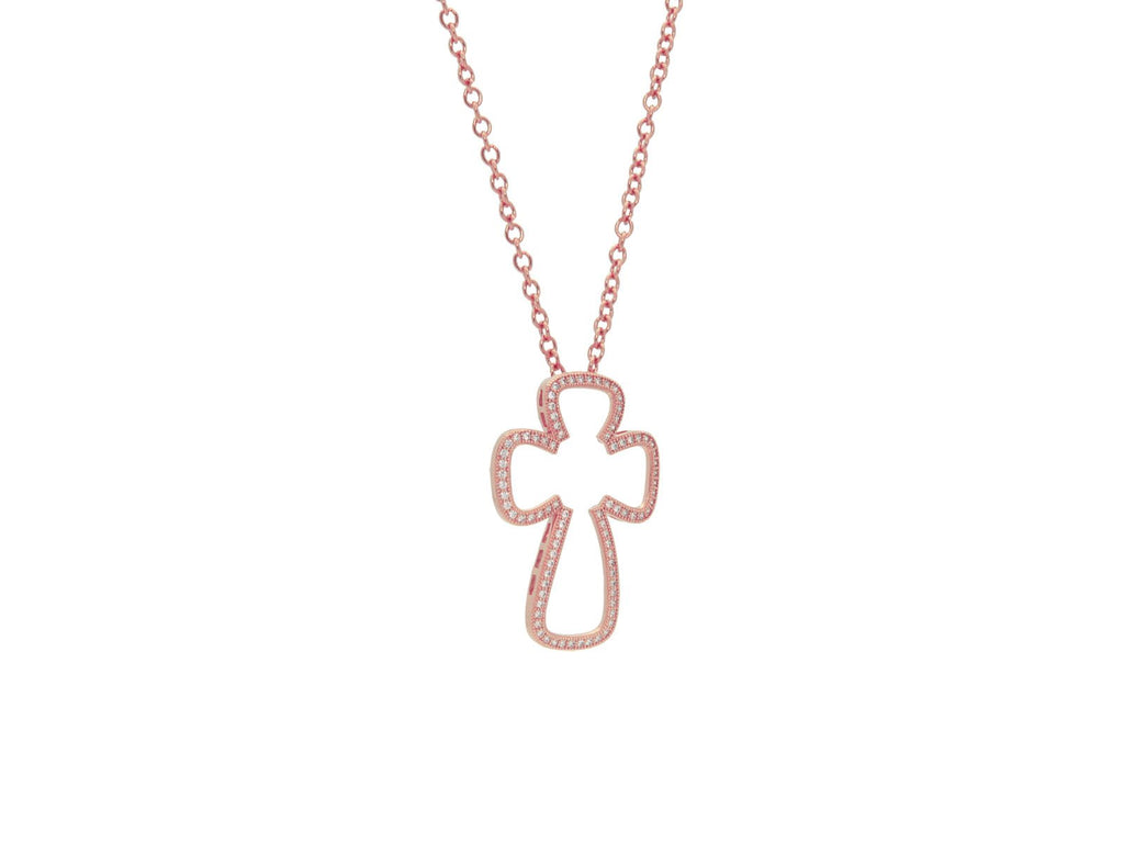 Small Sparkling Open Rose Cross Pendant Necklace, 16""
