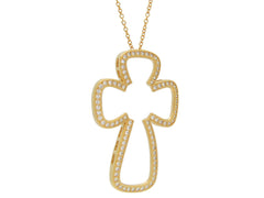 Large Gold plated Silver Open Cross Pendant Necklace, 16""