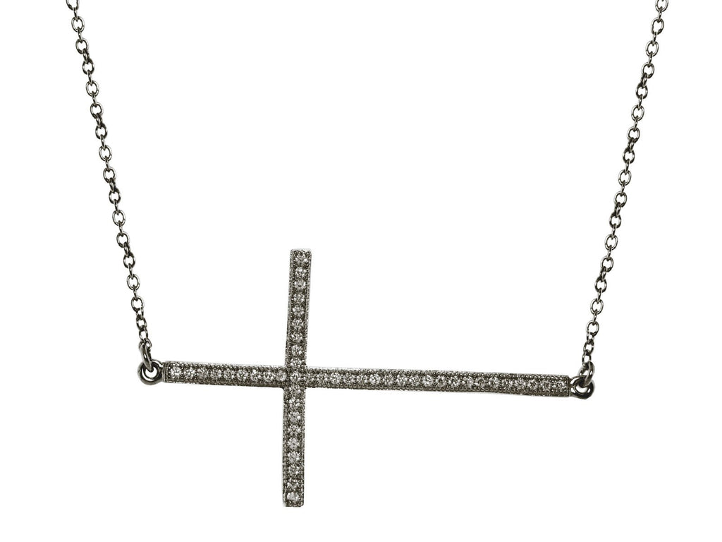 Black Rhodium Plated Silver Large Sideways CZ Studded Cross Necklace, 16""