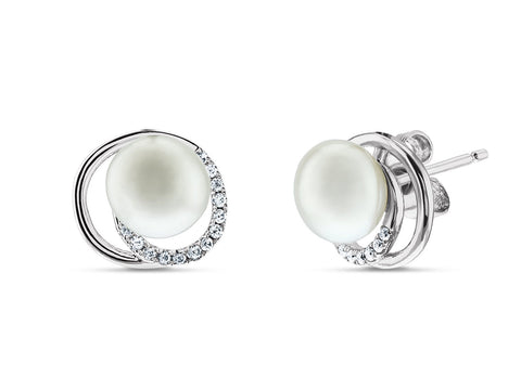 Halo CZ Bridal Pearl Stud Earrings