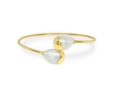 Gold Capped Pearl Ends Bangle