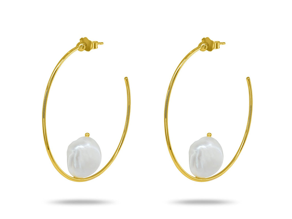Pearl Capped Hoop Earrings