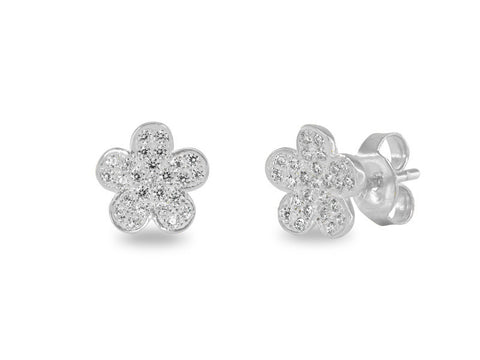 Daisy Flower Pave CZ Studs | Sterling Silver by Fronay