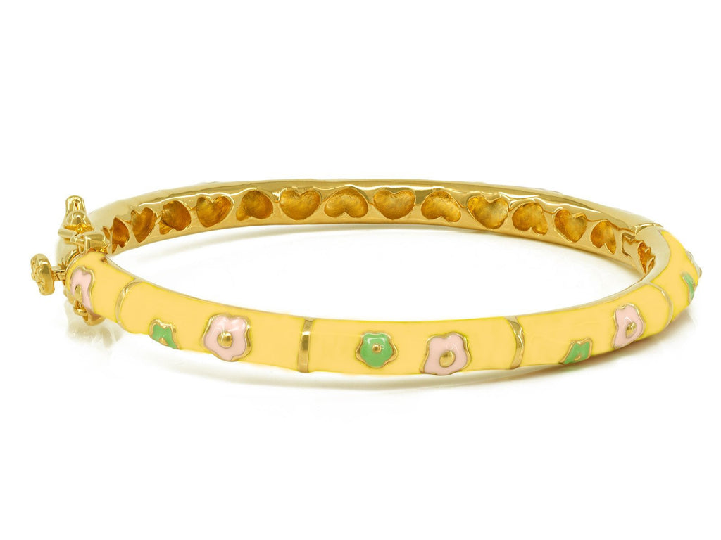 BecKids - Pink and Green Flowers Bangle Bracelet - Yellow Enamel - Gold Plated Brass - Girls (50mm)