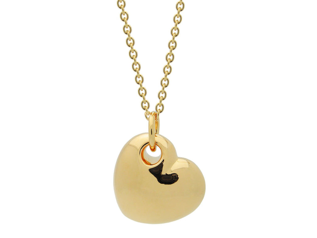18k Gold Plated Puffy Heart Necklace, 15 Inches