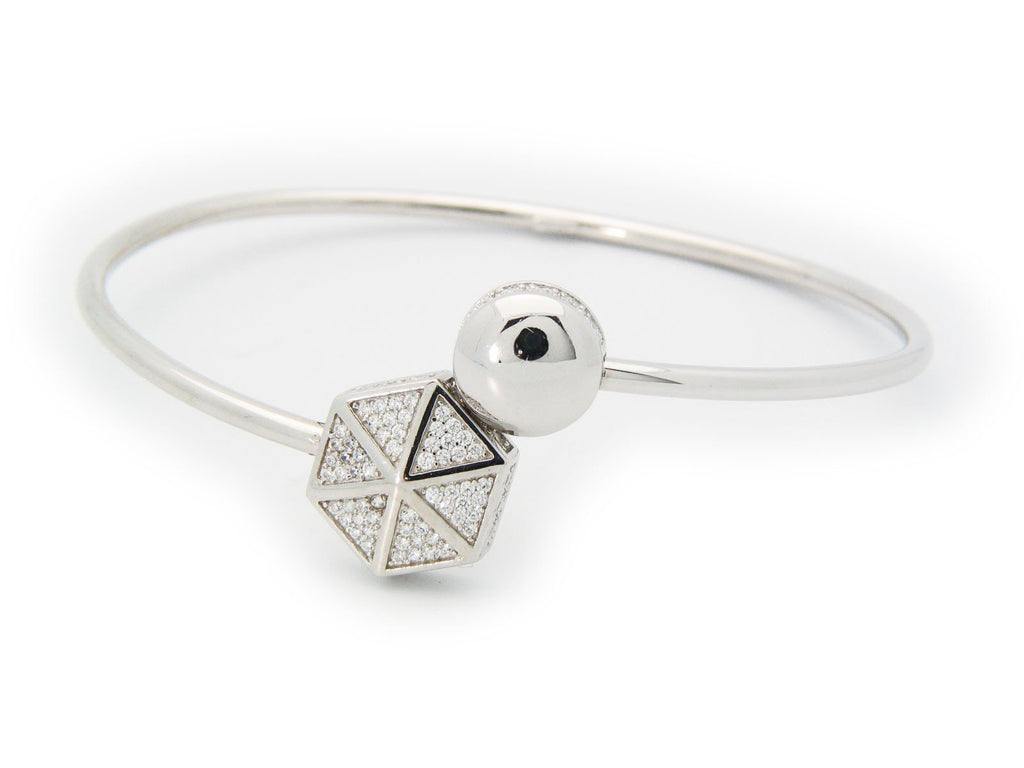 Sparkling Cz Hexagon Cuff Bangle in Sterling Silver