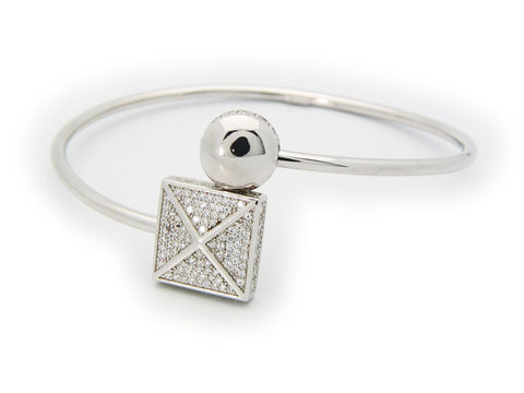 Sparkling Cz Square Cuff Bangle in Sterling Silver
