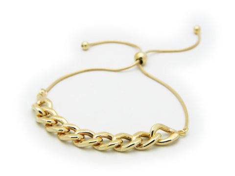Fronay Co, Gold Plated Sterling Silver Rounded Cuban Link Chain Bracelet, Adjustable