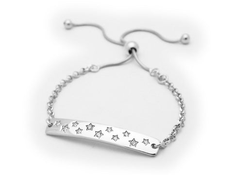 Fronay Co, Sterling Silver Star Studded ID Rolo Link Bracelet, Adjustable