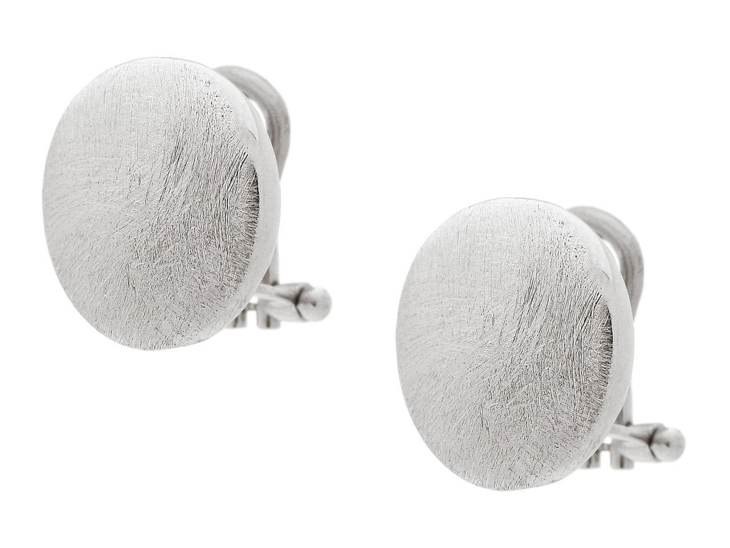 Milano Button Earrings in Satin Sterling Silver, 15mm