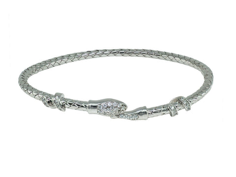 Thick Spiga Design CZ Snake Head Bangle Bracelet (Felxible)