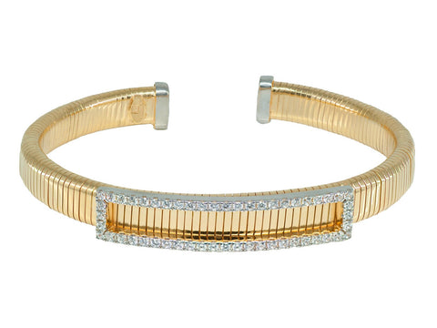 Fronay Co Tubo Gas Cz Cuff Bangle | Sterling Silver