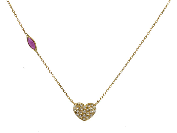 14k Gold Diamond Heart Necklace with a Ruby Gemstone