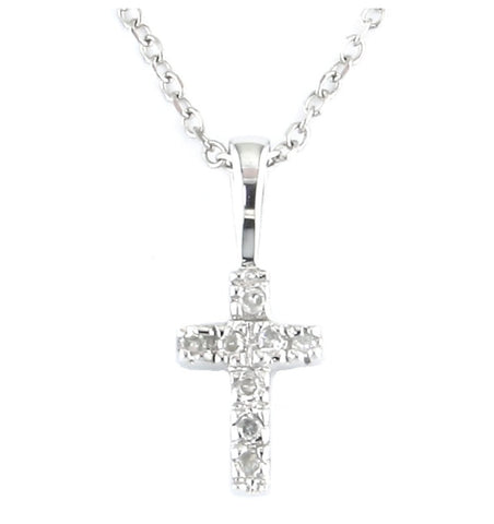14k White Gold Petite Diamond Cross Necklace