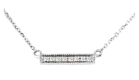 14k White Gold Petite Diamond Bar Necklace