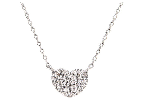 14k White Gold Petite Diamond Heart Necklace